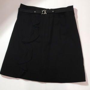 White House Black Market Ruffled Belted Skirt
